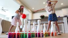 Blindfolded GIANT Bowling Slime PRANK Challenge!!