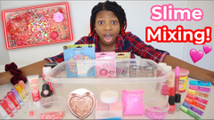Mixing Makeup Into Clear Slime Valentines Day Edition!