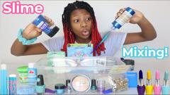 Adding Blue Makeup To Slime! Eyeshadow + Glitter + Nail Polish & More!