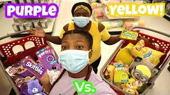 Extreme Slime Challenge!   Purple Vs Yellow Shopping Challenge!