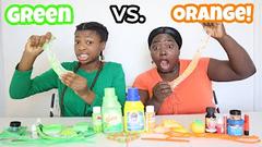 Extreme Slime Challenge!   Green Vs Orange Challenge!