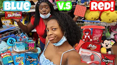 Extreme Slime Challenge!   Red Vs Blue Shopping Challenge!