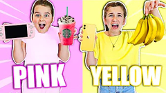 YELLOW VS PINK SHOPPING CHALLENGE!! **NO BUDGET** 💛💗 | JKREW