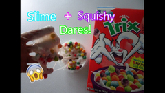 Slime And Squishy Dares! (Putting Cereal In Slime!)   Peachy Queen