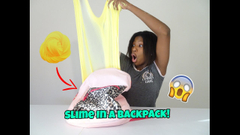 Putting Slime In A Backpack! How Much Slime Can A Backpack Hold!?   Peachy Queen