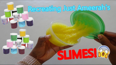 Recreating Just Ameerah's Slimes!   Cotton Candy + Yellow Crunchy Slime!