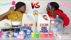 One Slime Four Ways Challenge! Mom VS Daughter!   Bad Idea!
