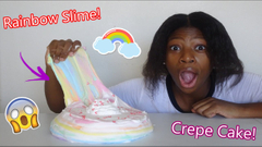 Making A Rainbow Crepe Cake Slime! Peachy's Slime Kitchen S1 E2