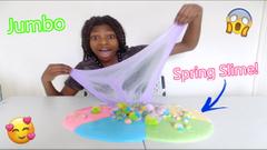 Making A Jumbo Spring Slime! Spring Slime Smoothie!